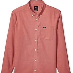 RVCA Brick Red That'll do Button Up Shirt Large